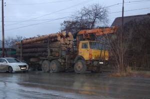 КАМАЗ с незаконно вырубленным лесом был доставлен к отделу полиции