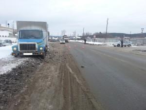 ГАЗ 3307, сбивший пешехода у хлебозавода в Сысерти